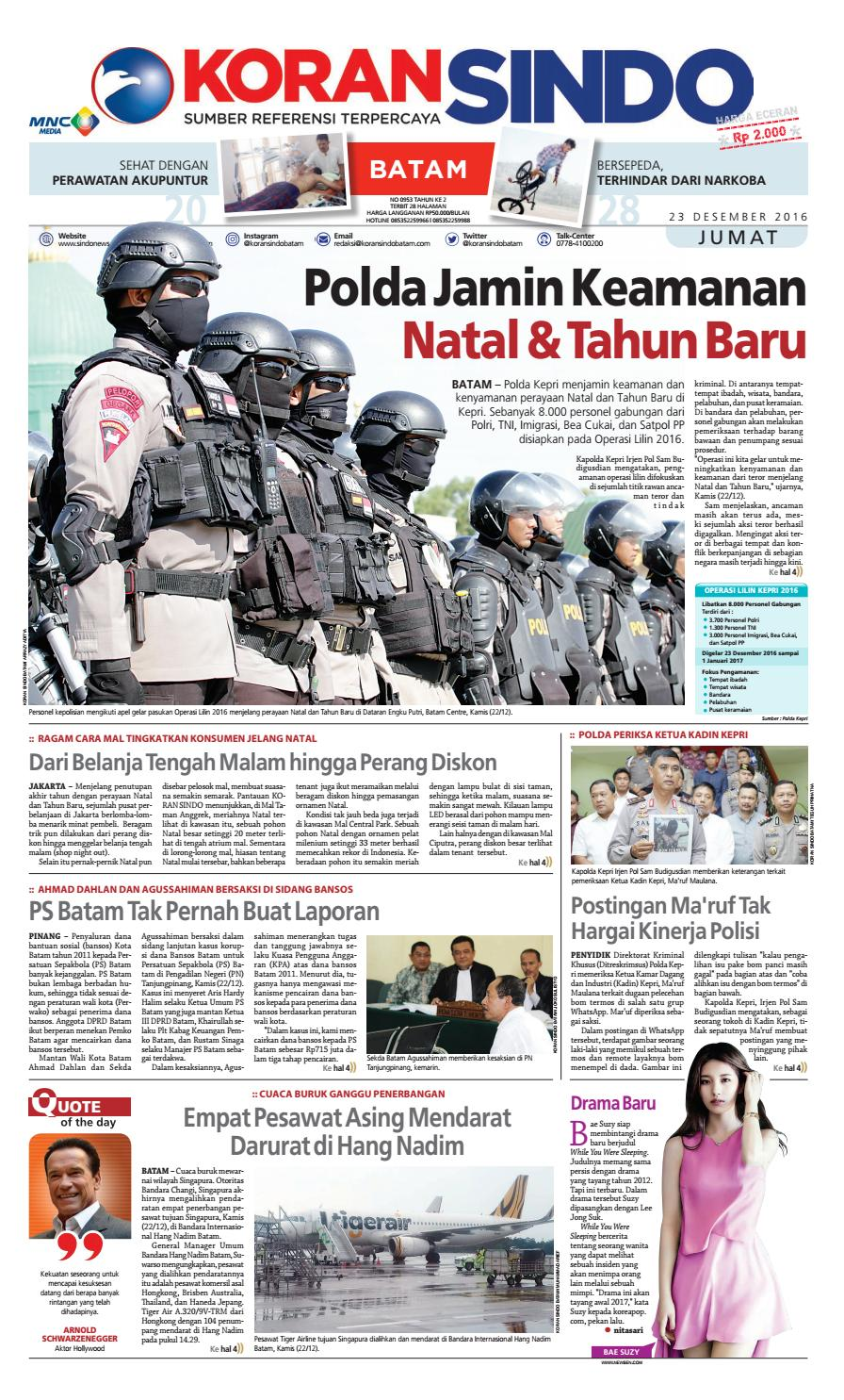 Koran Sindo Batam Edisi Jumat 23 Desember 2016 By Produk Ukm Bumn Earring Mas Putih Mutiara Laut Newspaper Issuu