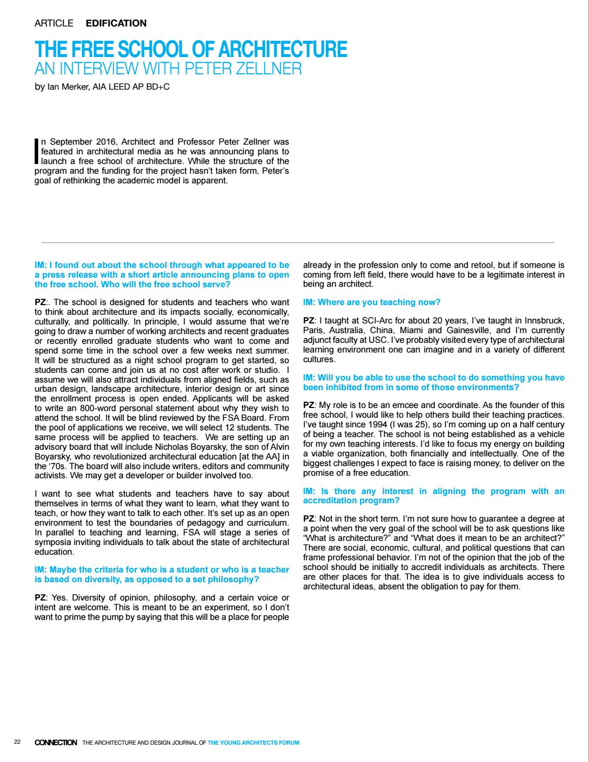 YAF Connection 14 06 by Young Architects Forum - issuu
