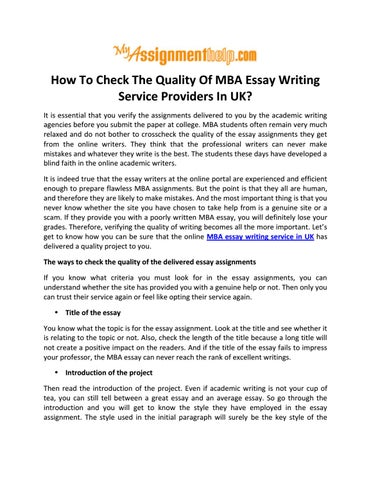 Example Of English Essay How To Check The Quality Of Mba Essay Writing Service Providers In Uk It  Is Essential That You Verify The Assignments Delivered To You By The  Academic  Compare And Contrast Essay Examples For High School also Essay Writing Thesis Statement How To Check The Quality Of Mba Essay Writing Service Providers In  Is Psychology A Science Essay