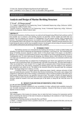 Analysis and Design of Marine Berthing Structure by ijera