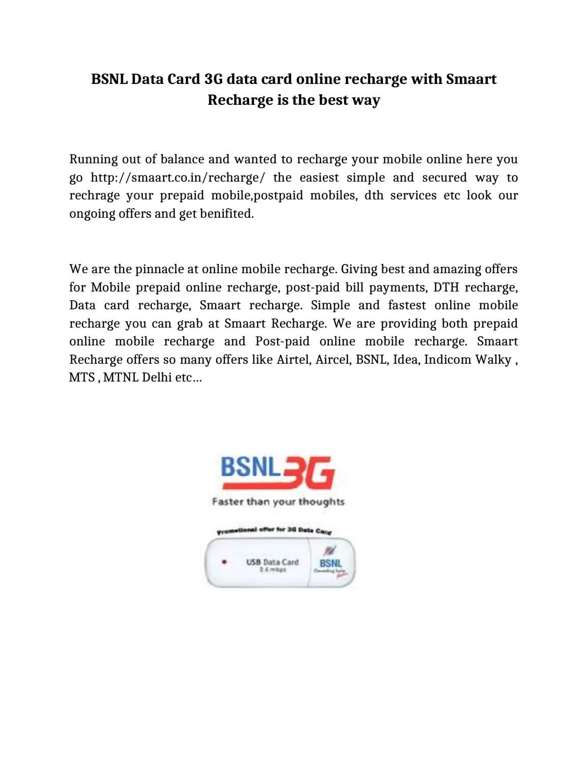 BSNL Data Card 3G data card online recharge with Smaart