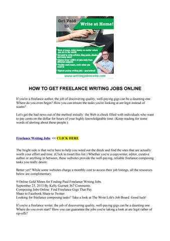 how to get lance writing jobs online by akellajustus issuu how to get lance writing jobs online if you re a lance author the job of discovering quality well paying gigs can be a daunting one
