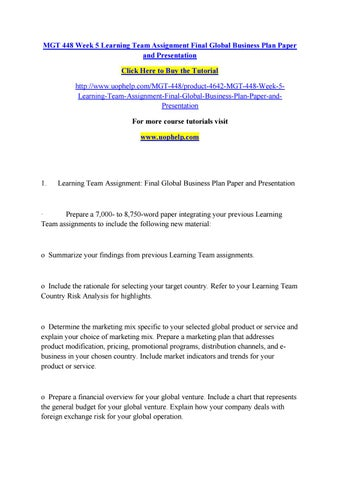 global business plan example