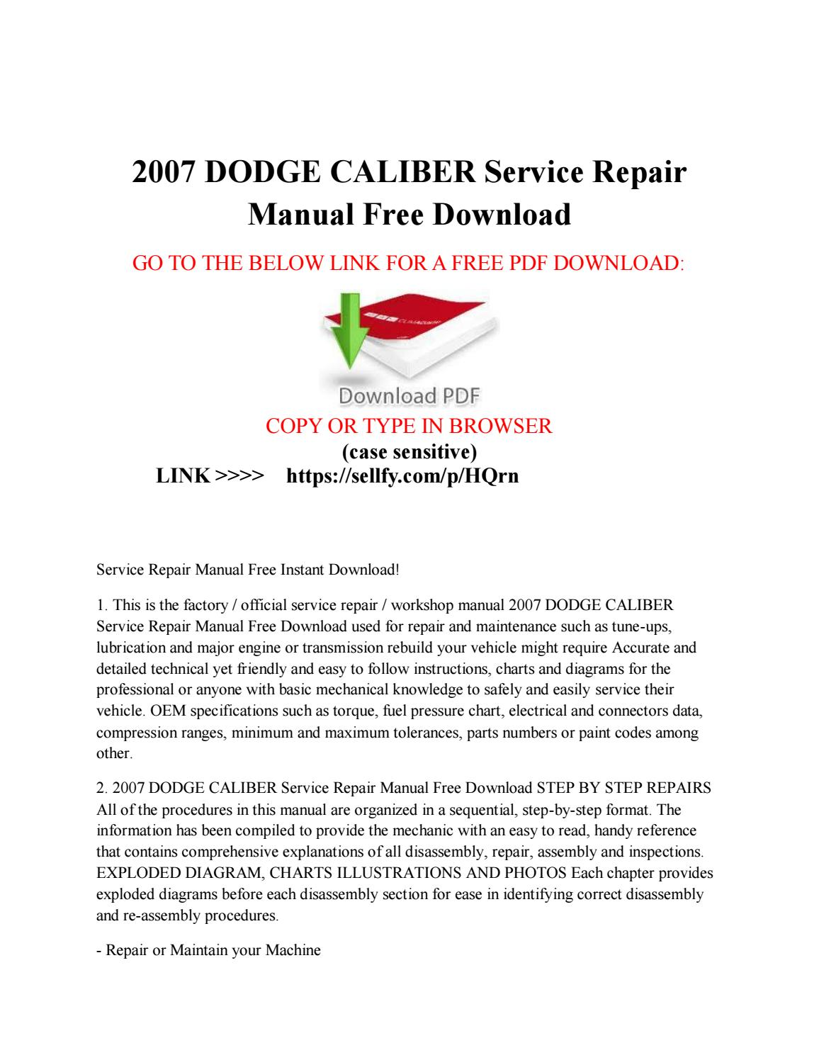 2007 dodge caliber service repair manual free download by