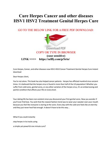 Cure herpes cancer and other diseases hsv1 hsv2 treatment