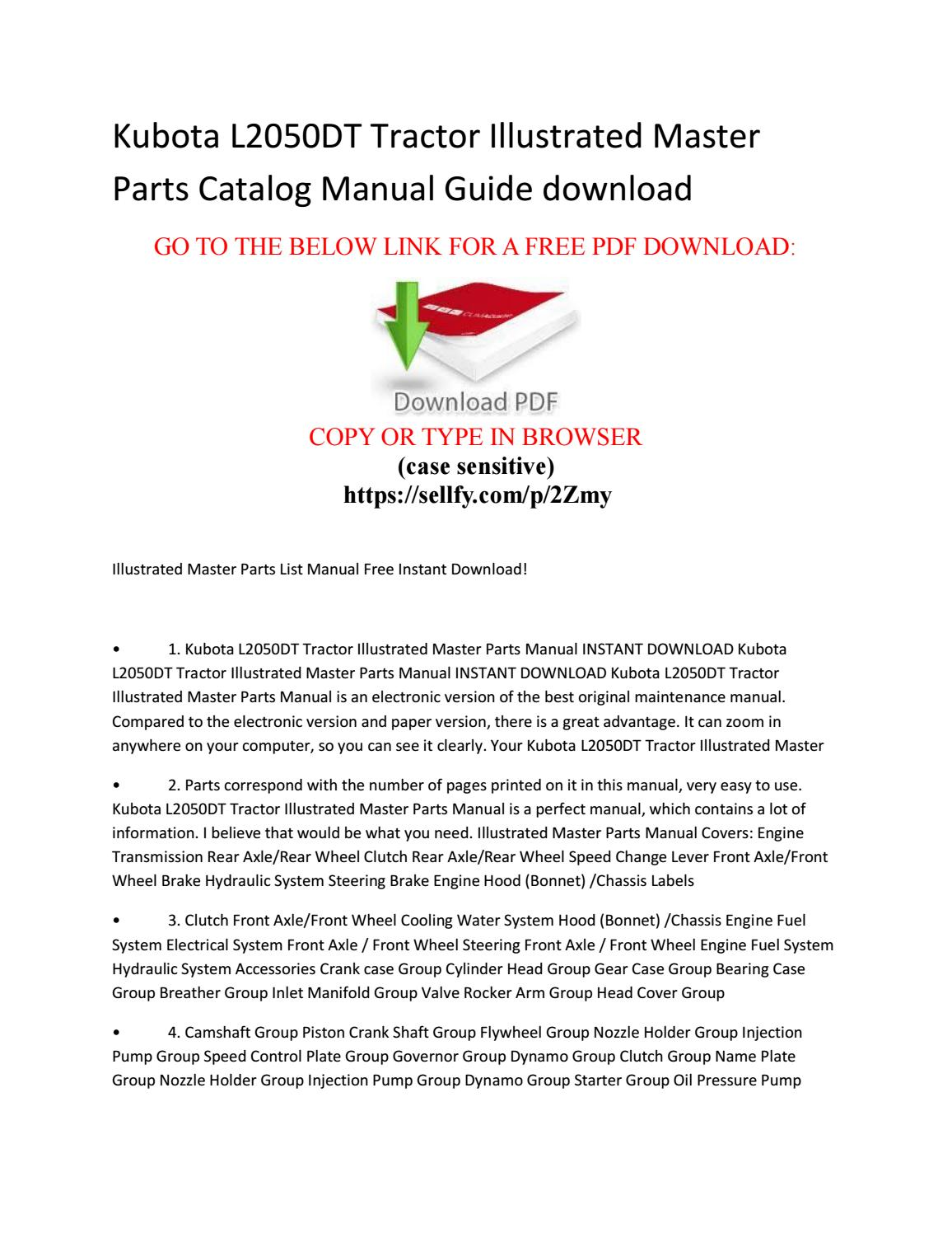Kubota l2050dt tractor illustrated master parts catalog manual guide free  download by JIM - issuu