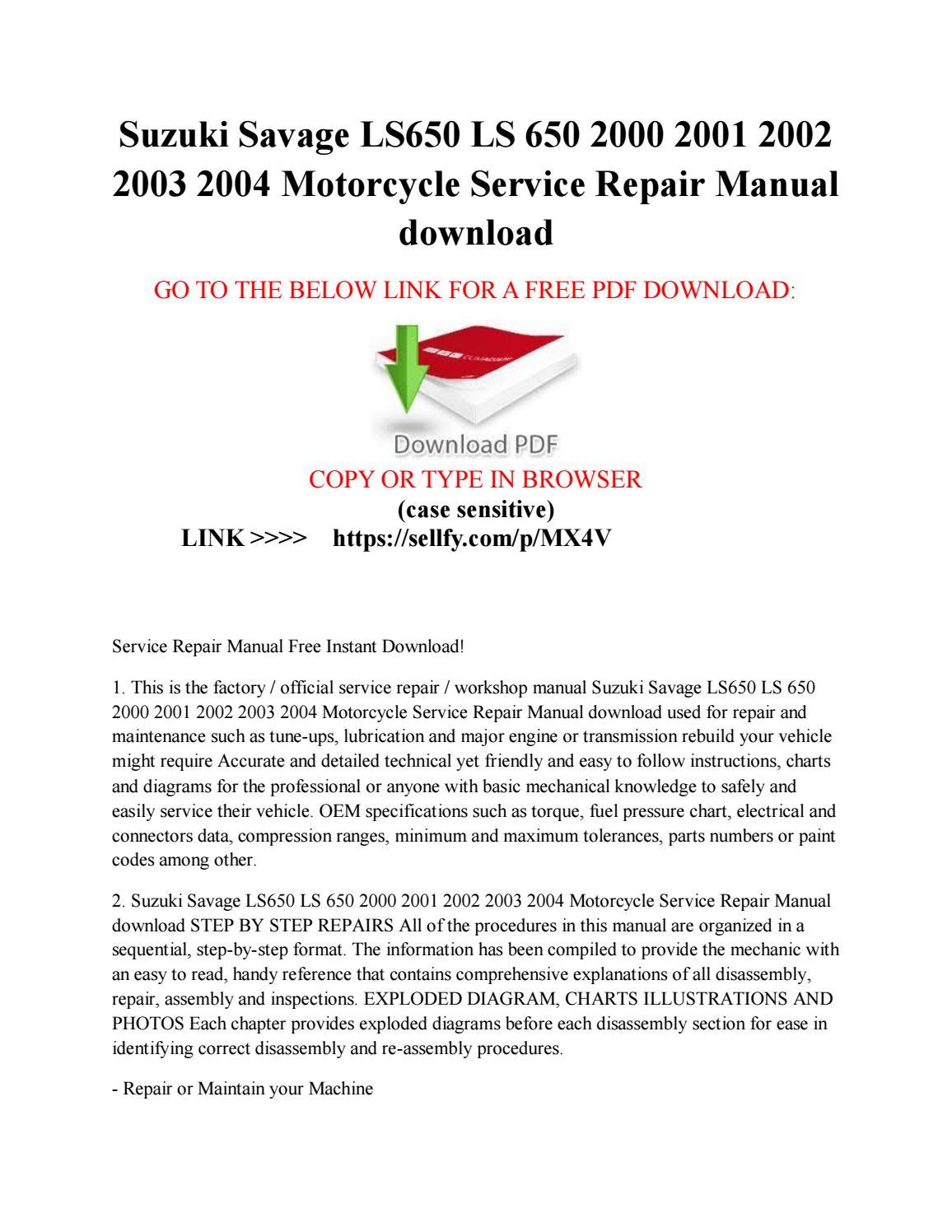 Suzuki savage ls650 ls 650 2000 2001 2002 2003 2004 motorcycle service  repair manual free download by JIM - issuu