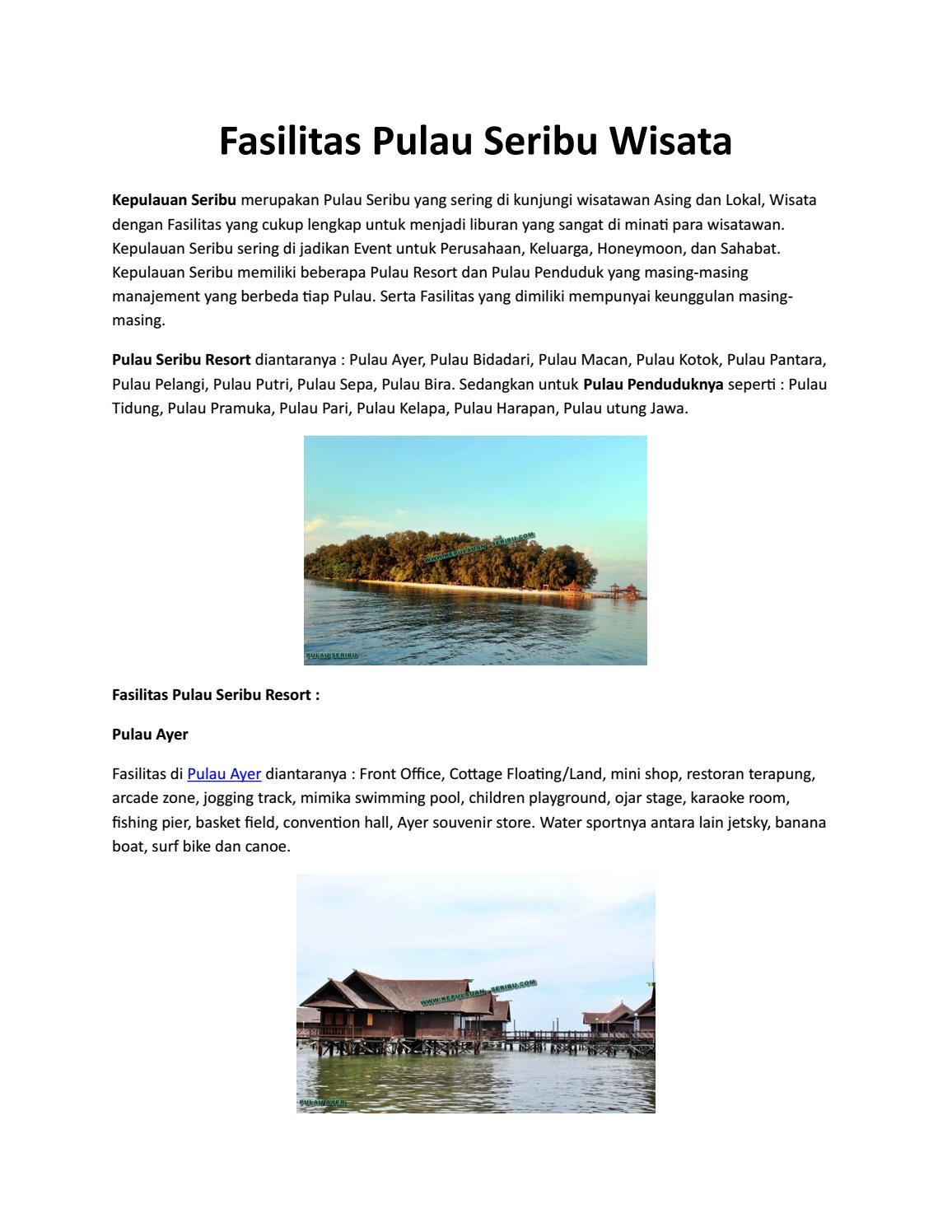 Fasilitas Pulau Seribu Wisata By Kepulauanseribu Issuu Paket Trip Pelangi 2d 1n Non Dive