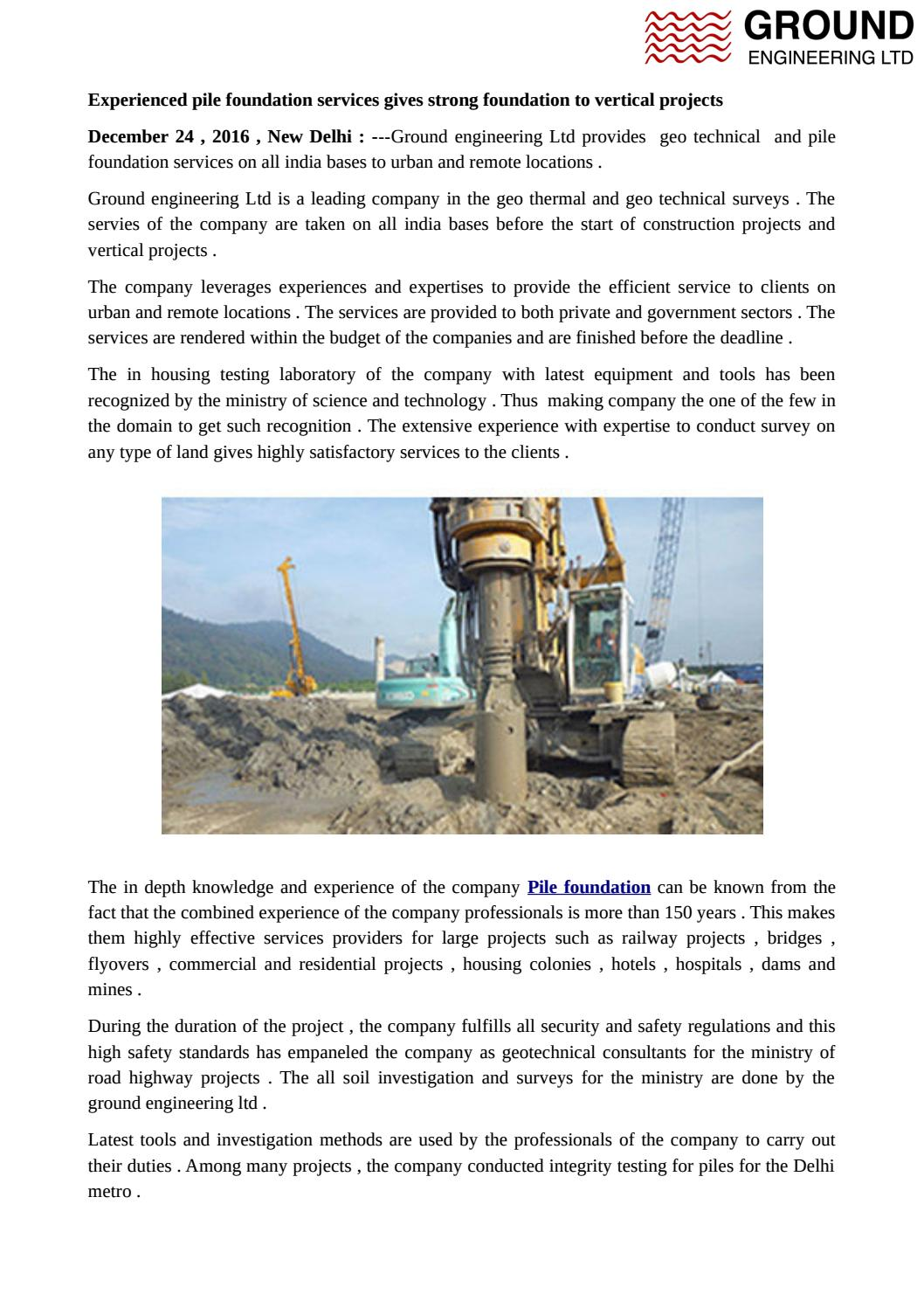 Experienced pile foundation services gives strong foundation to