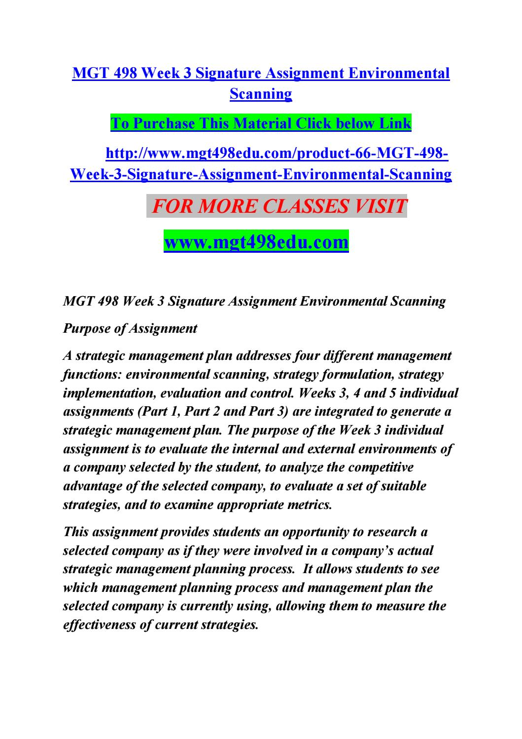 mgt 498 week three individual environmental scan Posts about mgt 498 week 3 written by  mgt 498 complete class dqs, individual and team  mgt 498 week 3 individual assignment environmental scan paper .