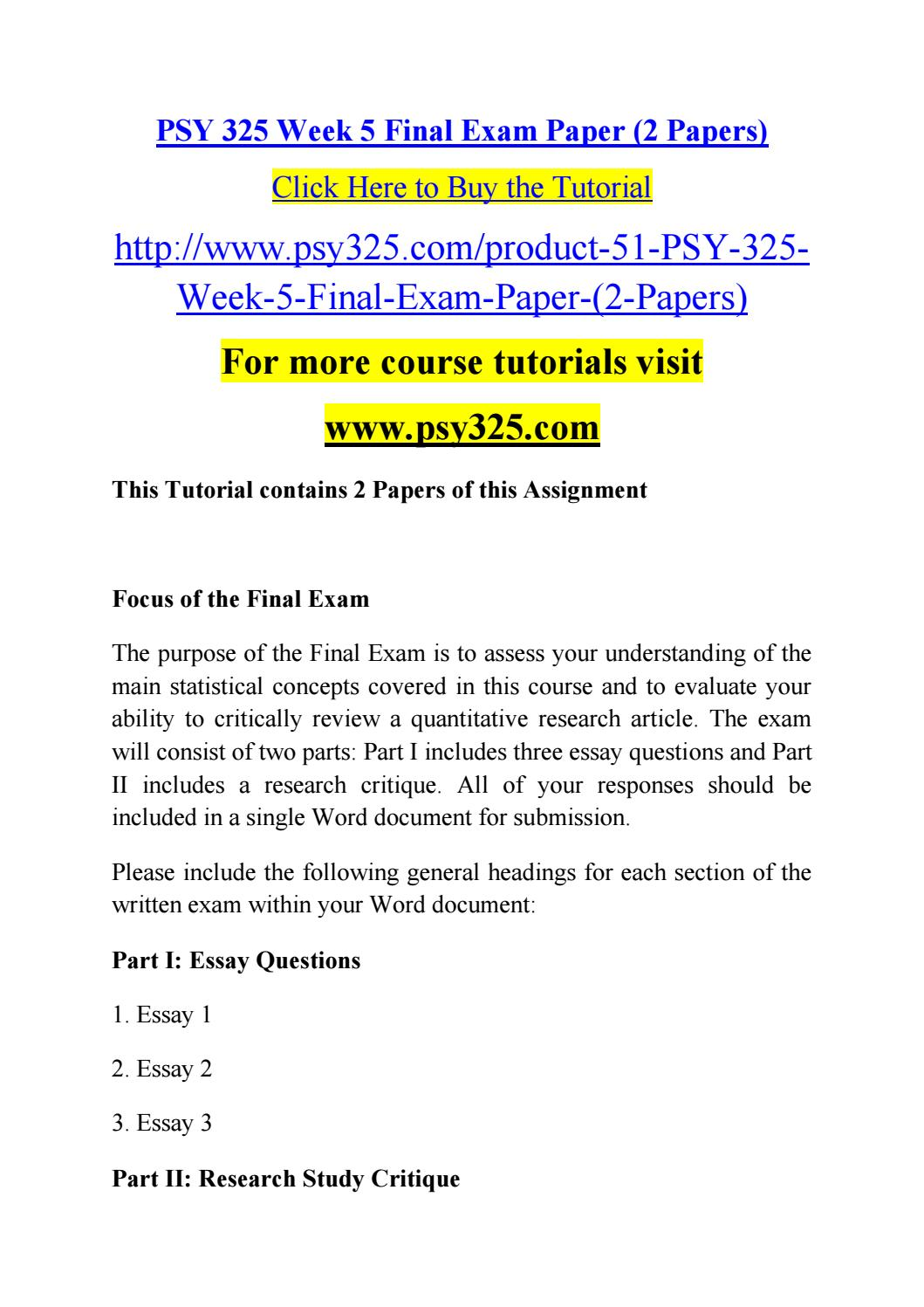 psy 325 week 5 final paper Psy 325 statistics for the behavioral & social sciences:  8/14/2015 psy 325 statistics for the behavioral & social  com/psy-325-week-5-assignment-final-exam.