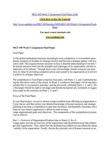Mgt 490 week 5 assignment final paper by pinck71 - issuu