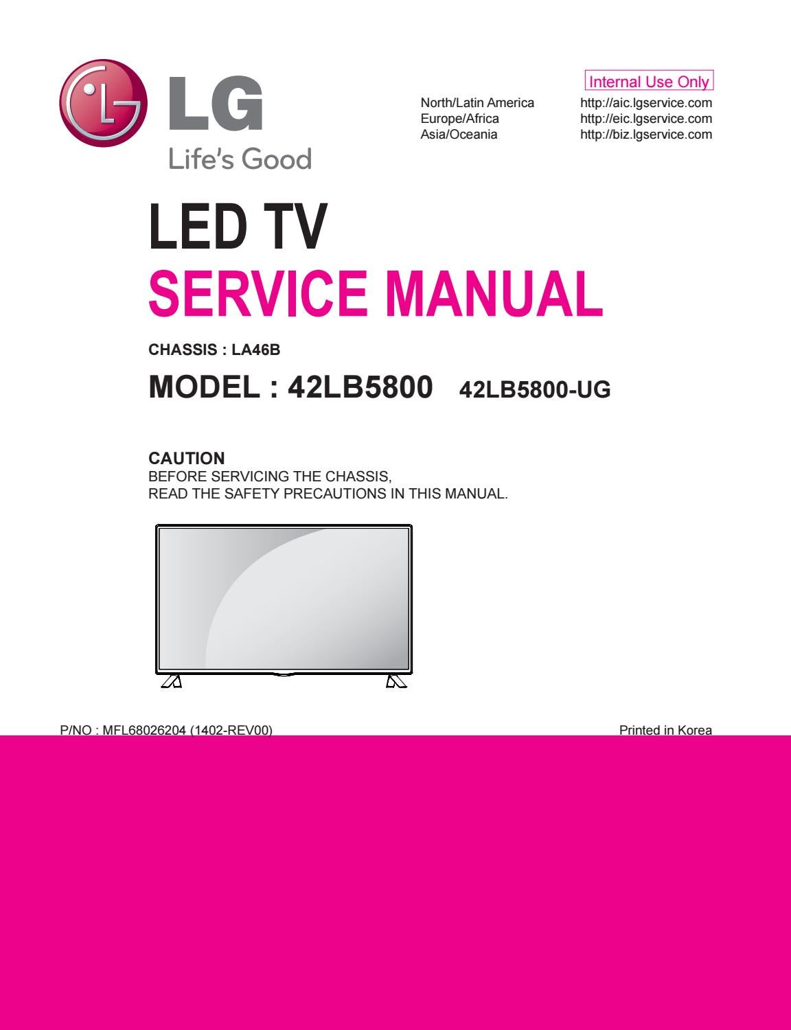 manual servi u00e7o tv led lg 42lb5800 ug chassis la46b by