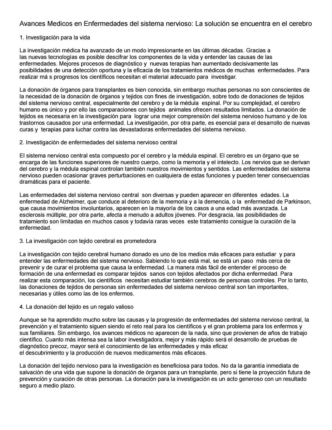 Avances medicos en enfermedades del sistema nervioso by Alejandro ...