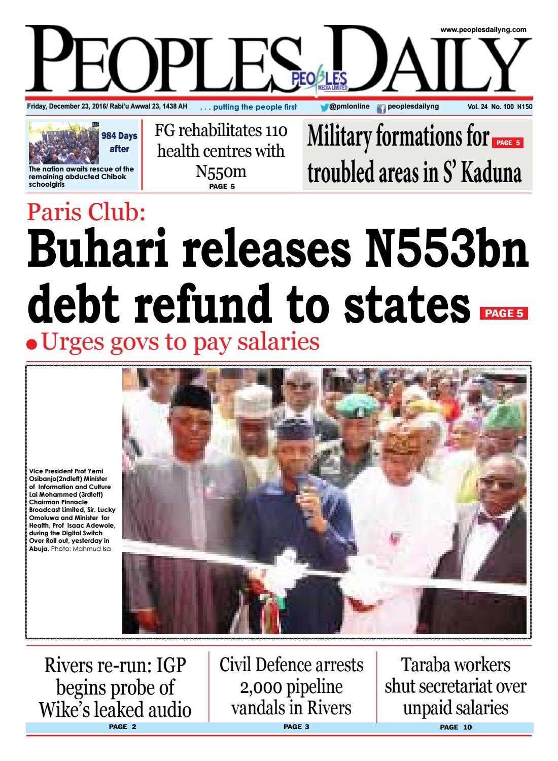 Friday, December 23, 2016 Edition by Peoples Media Limited - issuu