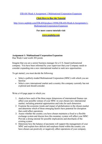 Itb 400 week 4 assignment 1 multinational corporation expansion by