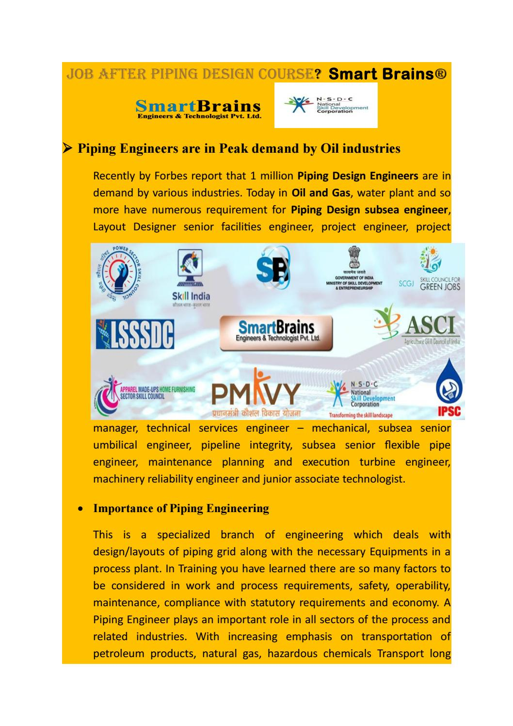 Job After Piping Design Training Course Copy By Digital Marketing Layout Noida Smartbrains Issuu