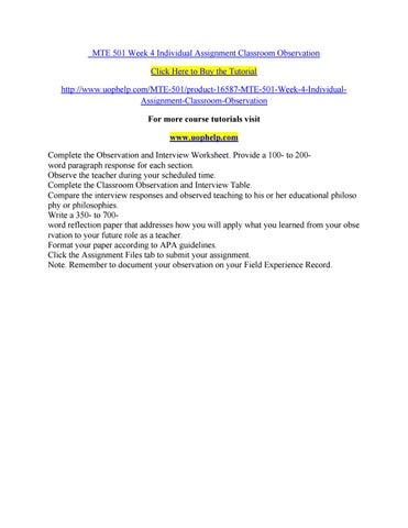 Mte 501 Week 4 Individual Assignment Classroom Observation By