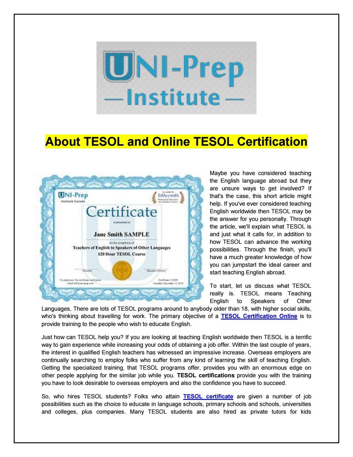 Hermosa Tesol Certificate Online Imagen Para La Aplicacin De Acta