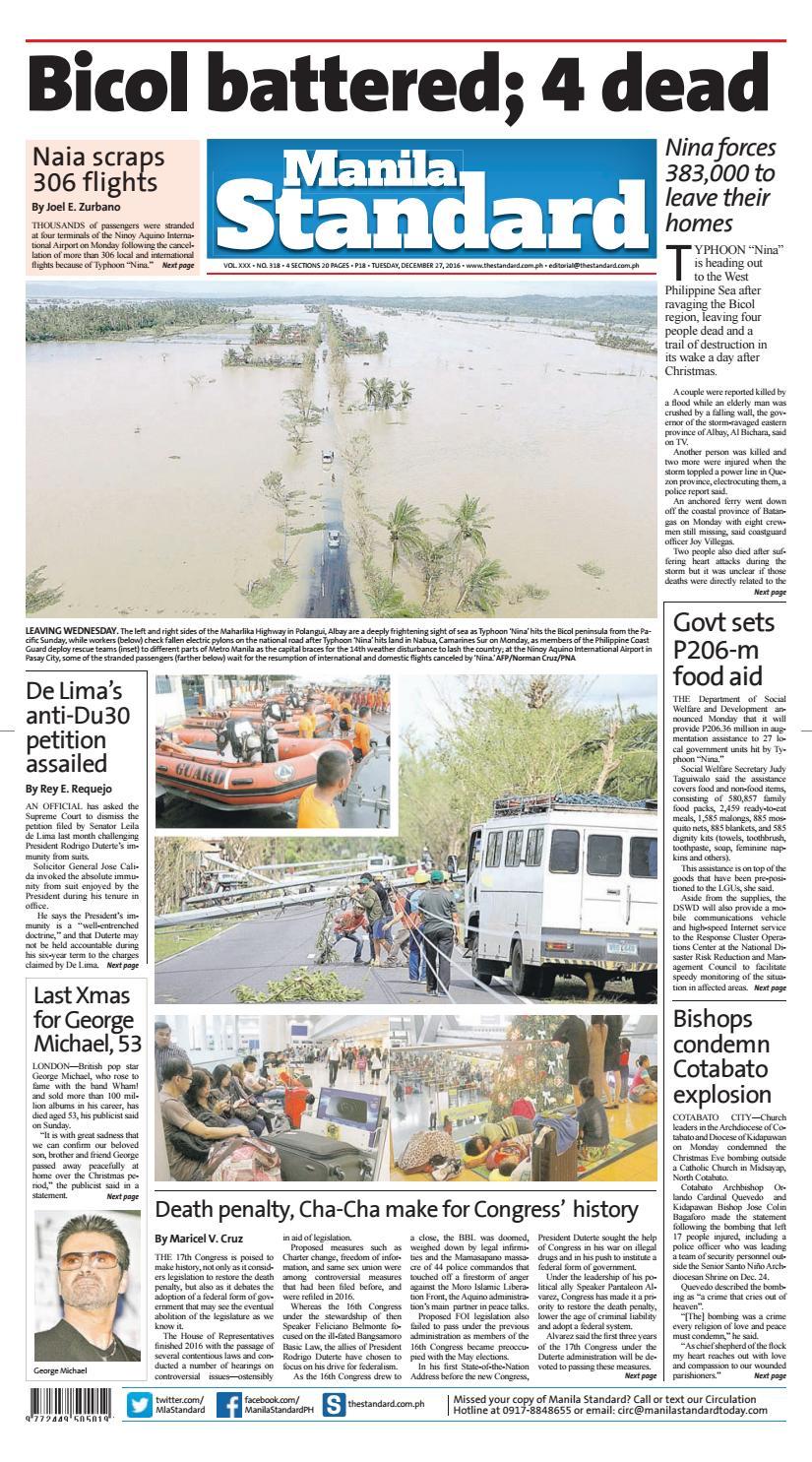 Manila Standard - 2016 December 27 - Tuesday