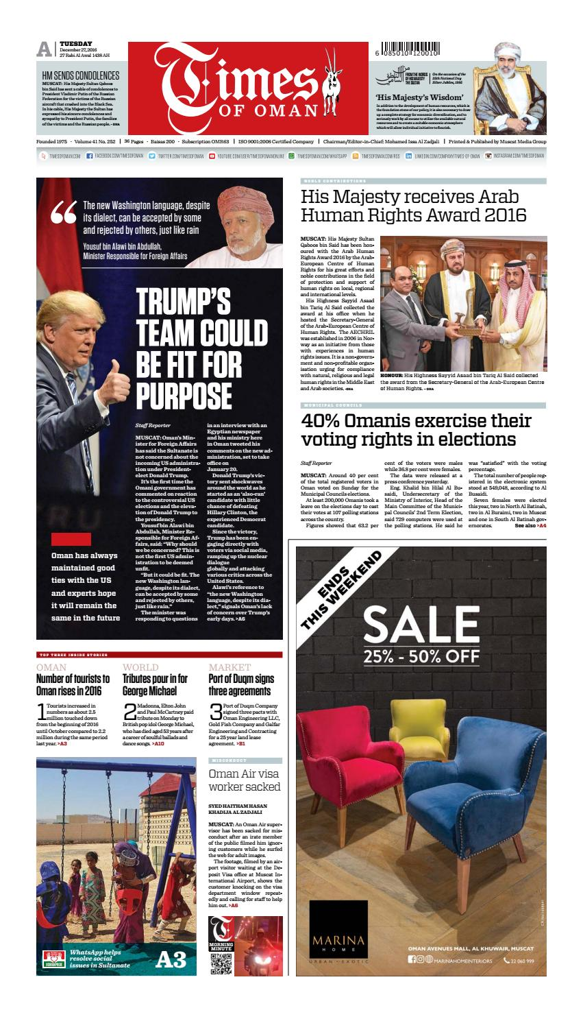 Times Of Oman December 27 2016 By Muscat Media Group Issuu