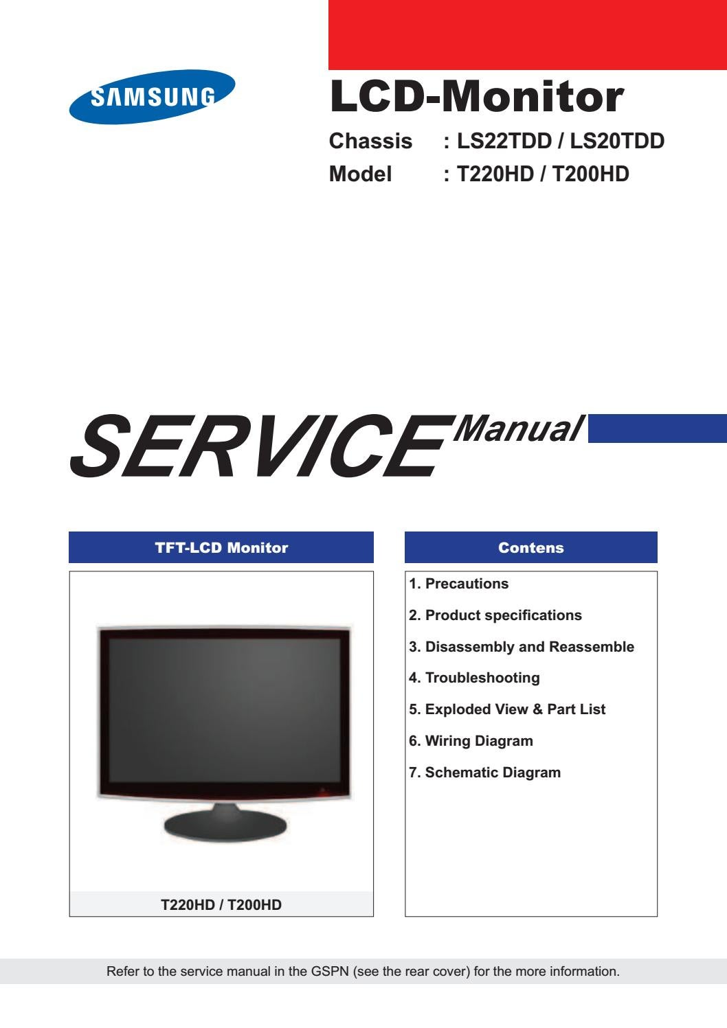 Manual De Servi U00e7o Dos Monitores Samsung Modelos T200hd E T220hd Com Os Chassises Ls20tdd E