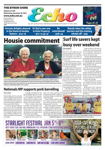 Byron Shire Echo Issue 3129 28122016 By Echo Publications Issuu