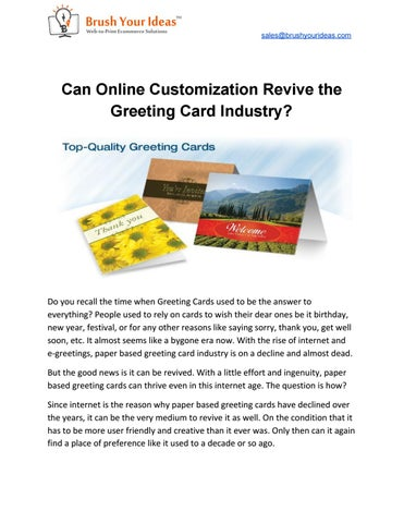 Can online customization revive the greeting card industry by maulik salesbrushyourideas can online customization revive the greeting card industry m4hsunfo