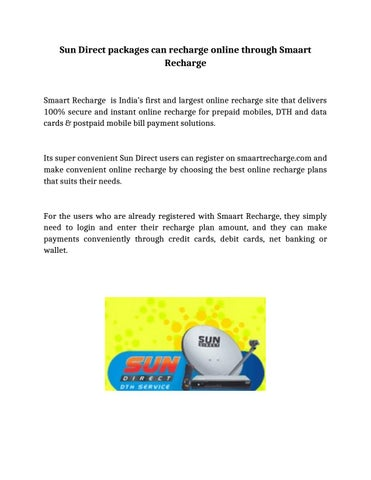 Sun Direct packages can recharge online through Smaart