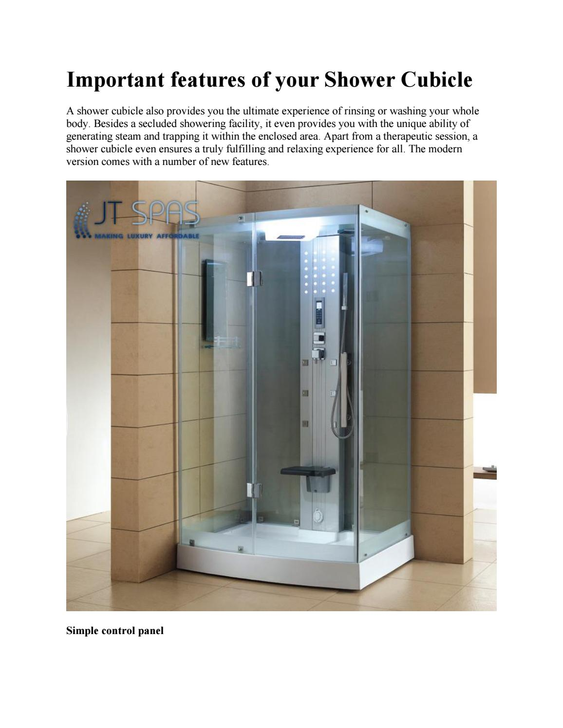 Important features of your Shower Cubicle by JTSpas - issuu
