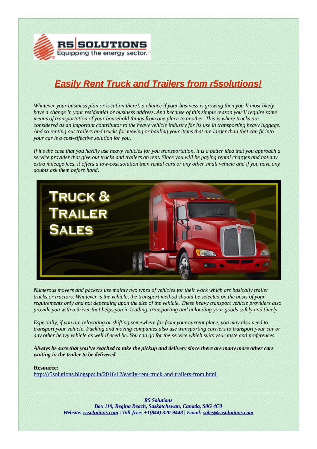 Find the best truck trailer equipment for rent by r5solutions issuu