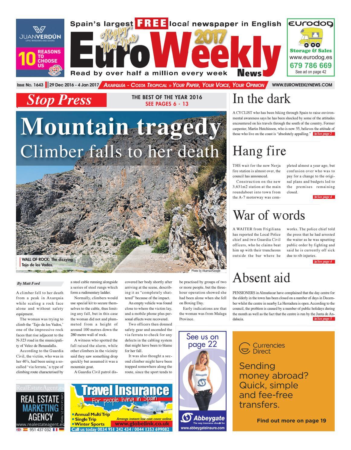 Euro weekly news axarquia 29 december 2016 4 january 2017 issue euro weekly news axarquia 29 december 2016 4 january 2017 issue 1643 by euro weekly news media sa issuu fandeluxe Images