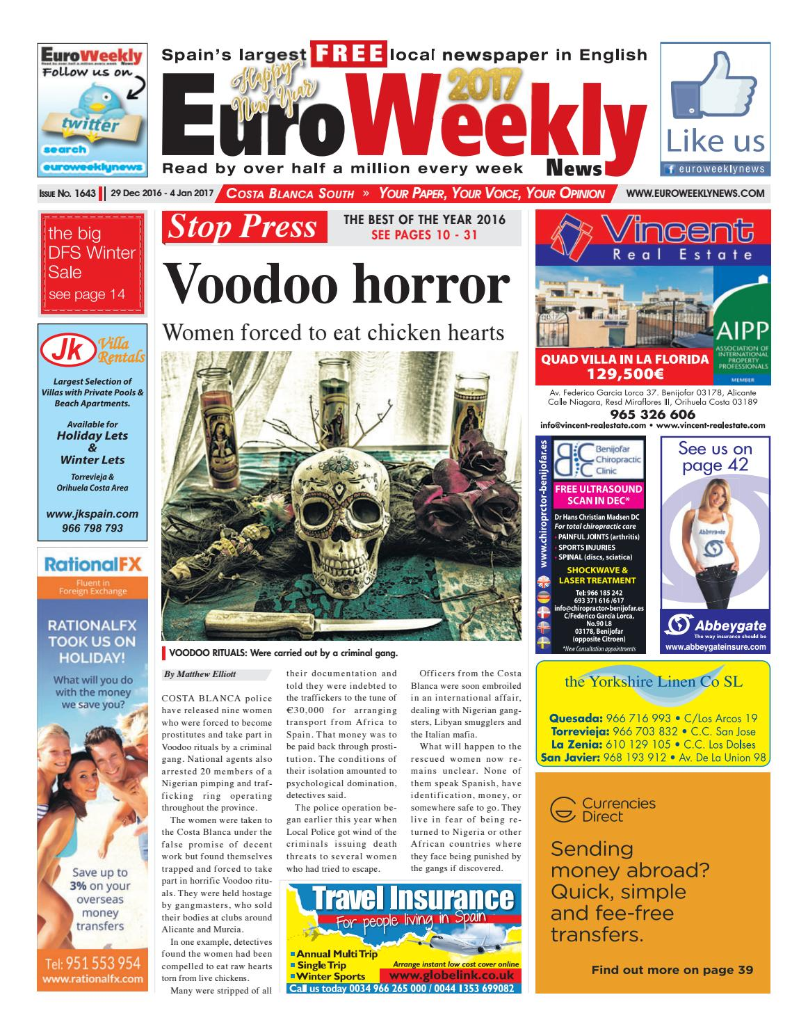 Euro Weekly News Costa Blanca South 29 December 2016 4 January Lovotics A New Robot Race That Can Love 2017 Issue 1643 By Media Sa Issuu