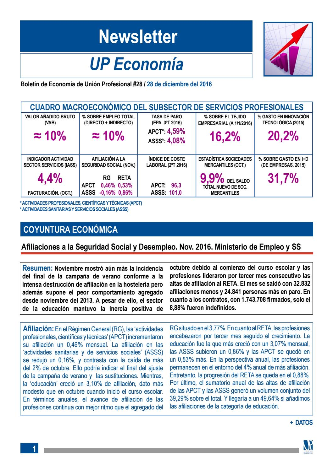 Newsletter UP Economía 2016 by Unión Profesional - issuu