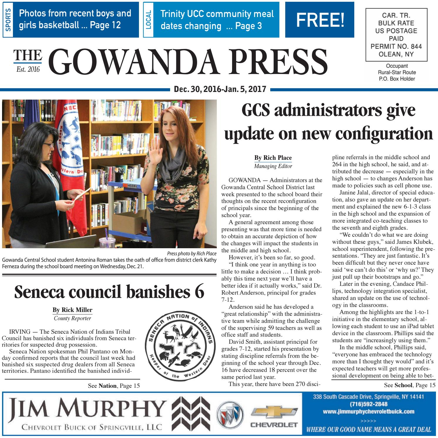 Gowanda Press Dec 30 2016 Edition By Bradford Publishing