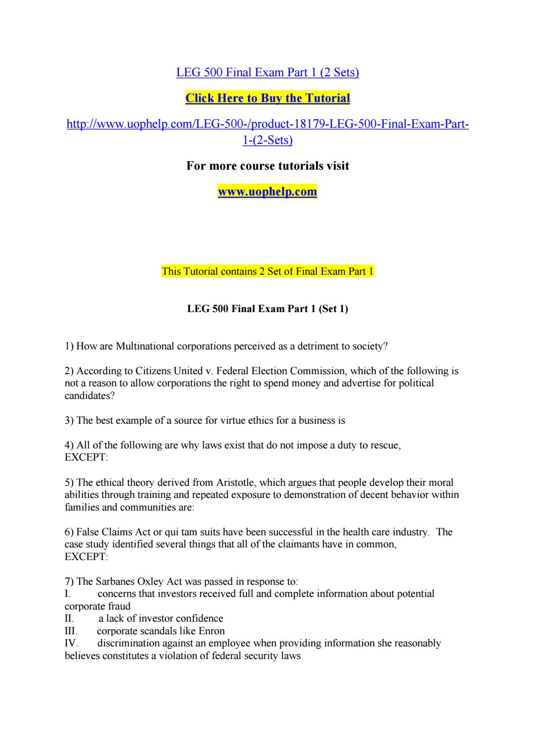Leg 500 final exam part 1 (2 sets) by bluebell314 - issuu