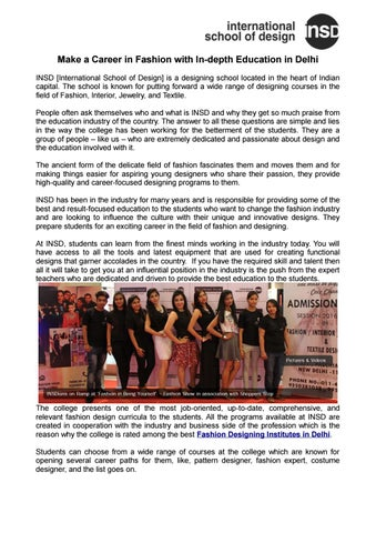 Make A Career In Fashion With In Depth Education In Delhi By Insd Paschim Vihar Issuu