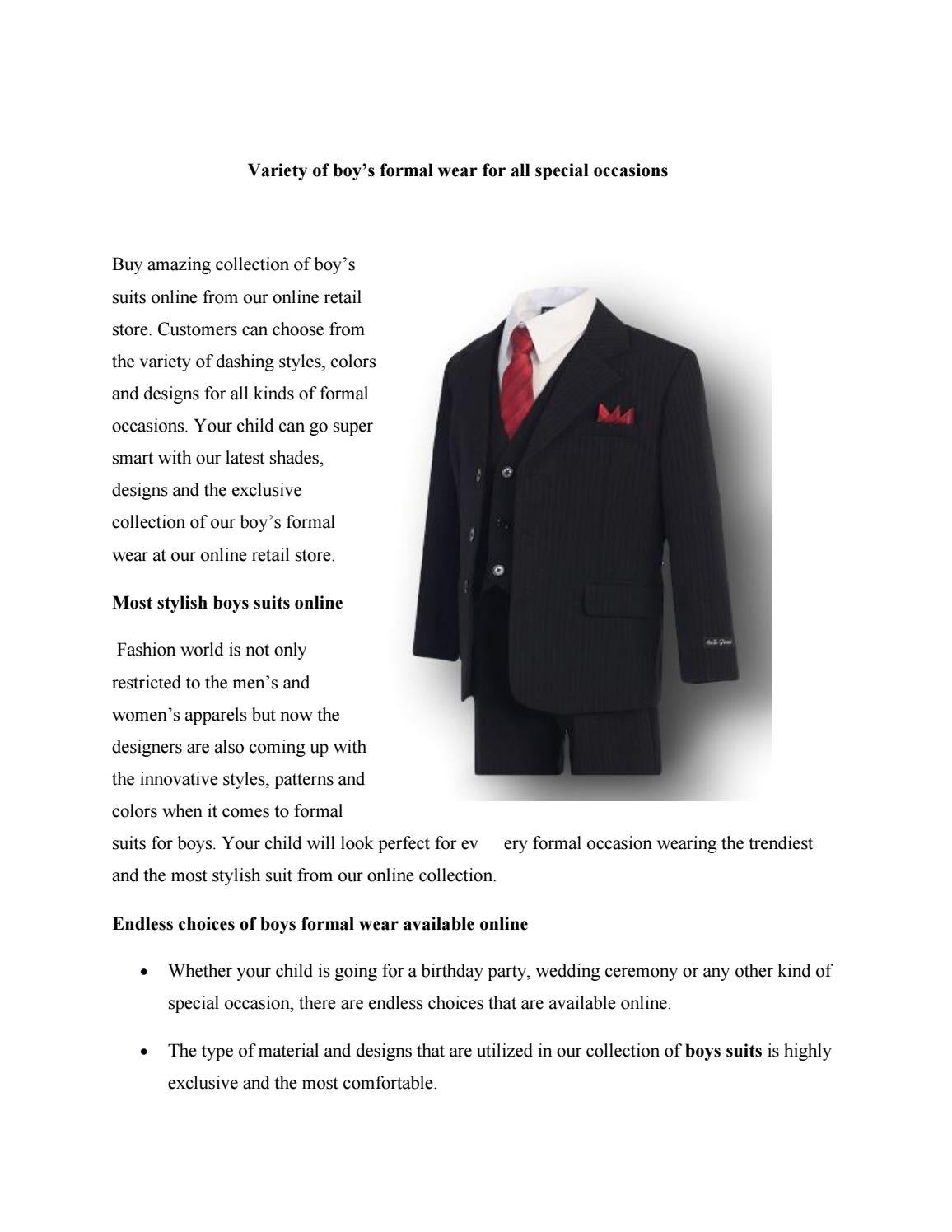Variety of boy's formal wear for all special occasions by Andrew Jackson -  issuu