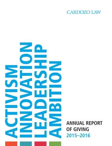 Cardozo Annual Report 2015 2016