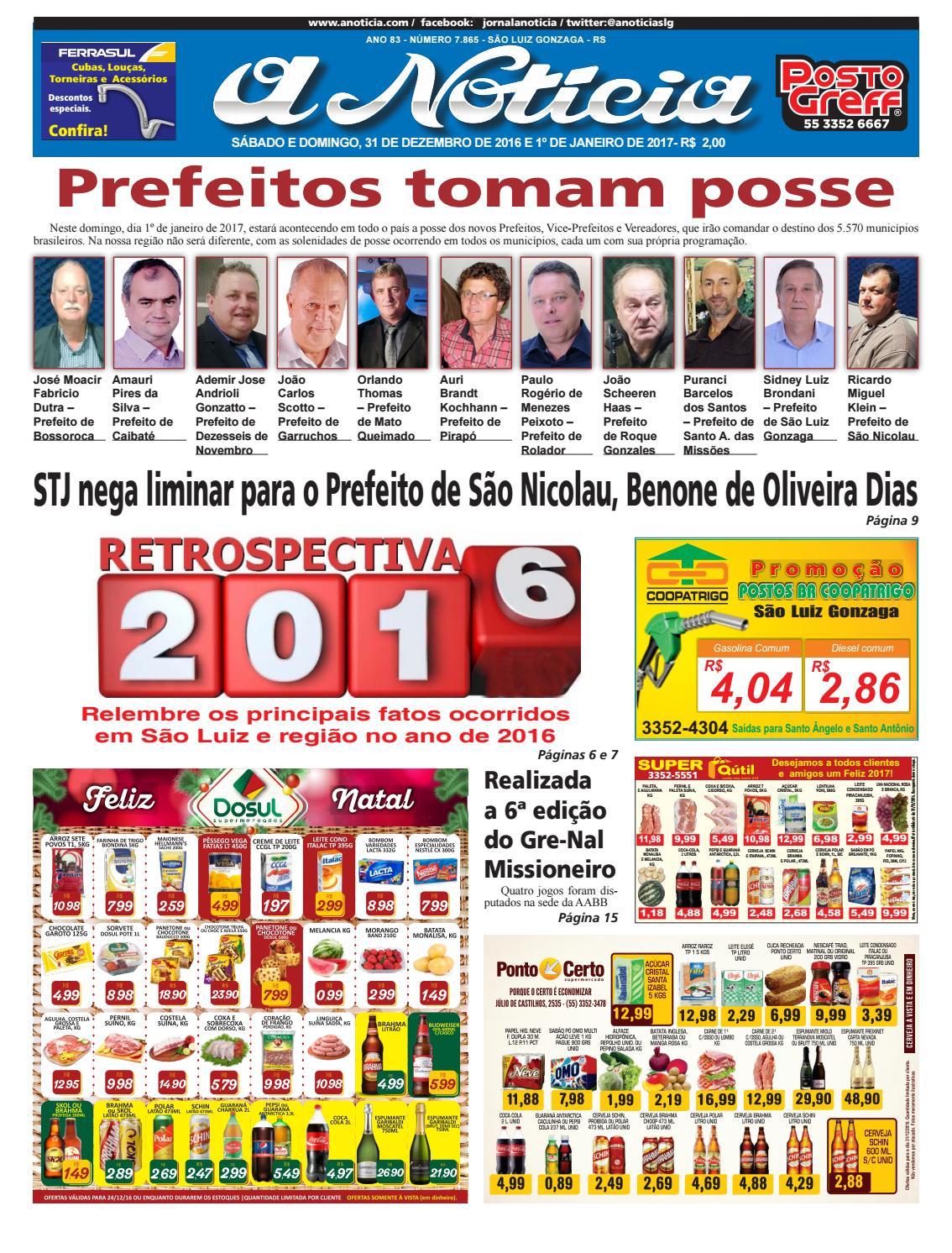 Edição de 31 de dezembro de 2016 e 1º de janeiro de 2017