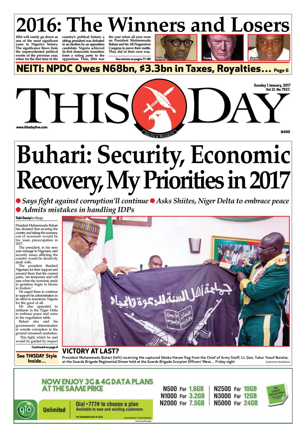 Sunday 1st January 2017 by THISDAY Newspapers Ltd - issuu
