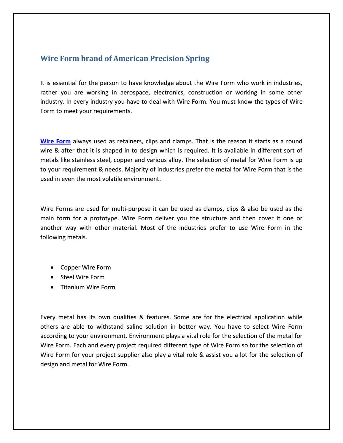Wire form brand of american precision spring by APSpring - issuu