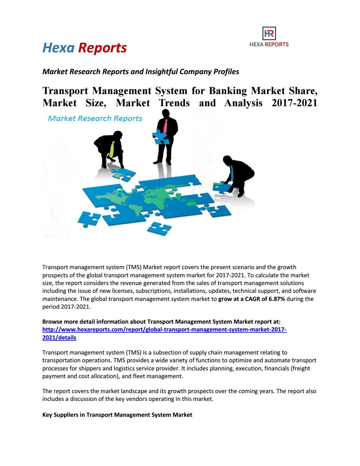 Transport management system for banking market share, market size, market  trends and analysis 2021