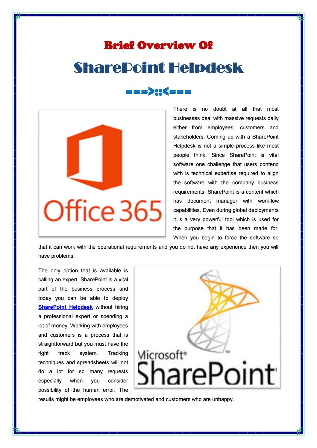 Brief Overview Of Sharepoint Helpdesk By Spjedi Issuu