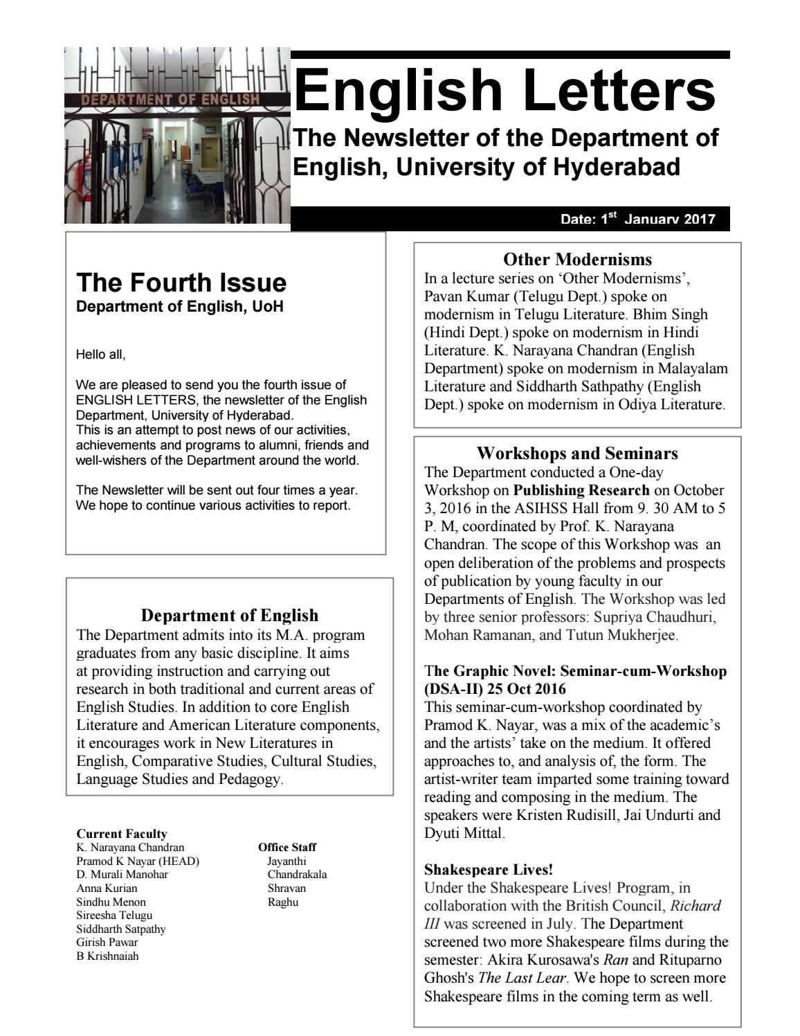 English Letters - Issue 4 by University of Hyderabad - issuu