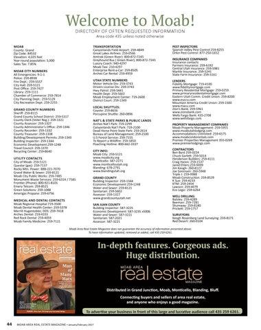 Moab Area Real Estate Magazine Jan By Moab Area Real Estate - 435 area code
