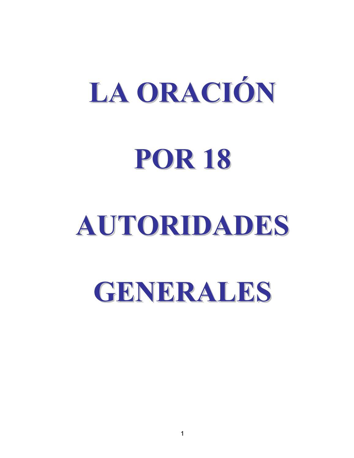 La Oración por 18 Autoridades Generales by Antonio Casas Romero - issuu