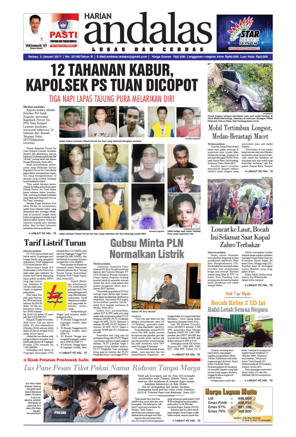 Epaper Andalas Edisi Selasa 3 Januari 2017 By Media Issuu Loop Ramadhan Kompor Lapangan Windproof