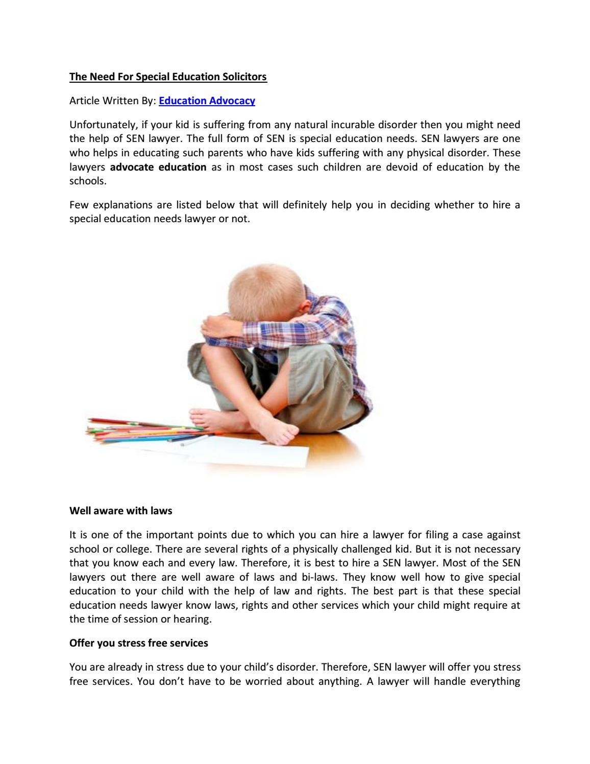 The Need For Special Education Solicitors By Advocacy UK Ltd