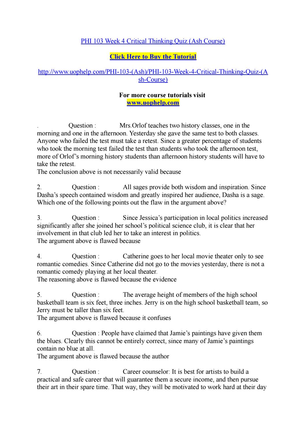 critical thinking quiz week 4 answers Power of critical thinking 4th edition answers  smarts quiz answer sheet acct1501 quiz 3 answers huntington sat prep critical  environment topic 4 answers.